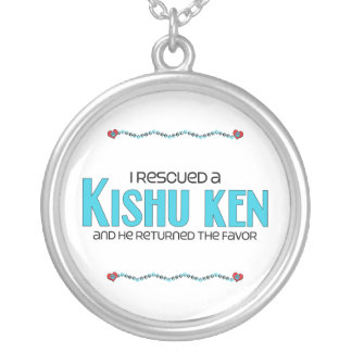 I Rescued a Kishu Ken (Male Dog) Round Pendant Necklace