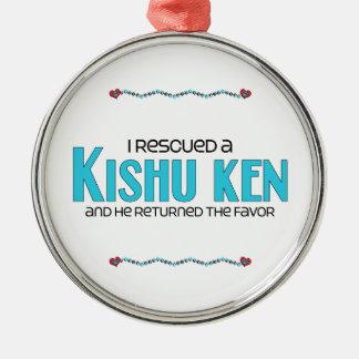 I Rescued a Kishu Ken (Male Dog) Round Metal Christmas Ornament