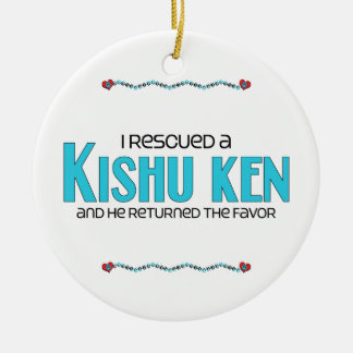 I Rescued a Kishu Ken (Male Dog) Double-Sided Ceramic Round Christmas Ornament