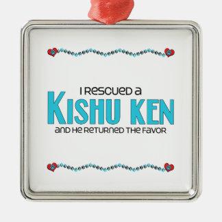 I Rescued a Kishu Ken (Male Dog) Square Metal Christmas Ornament