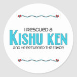 I Rescued a Kishu Ken (Male Dog) Round Stickers