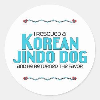 I Rescued a Korean Jindo Dog (Male Dog) Round Sticker
