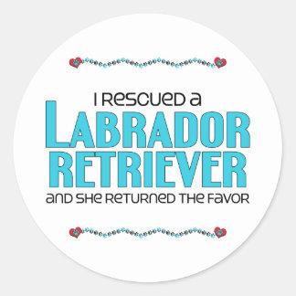 I Rescued a Labrador Retriever (Female Dog) Round Stickers