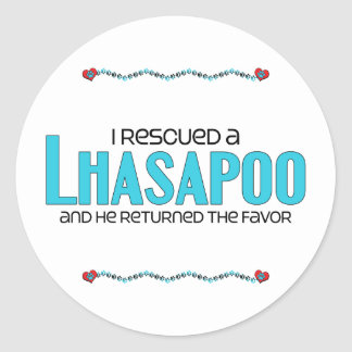 I Rescued a Lhasapoo (Male) Dog Adoption Design Classic Round Sticker