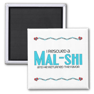 I Rescued a Mal-Shi (Male) Dog Adoption Design 2 Inch Square Magnet