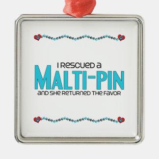 I Rescued a Malti-Pin (Female) Dog Adoption Design Square Metal Christmas Ornament