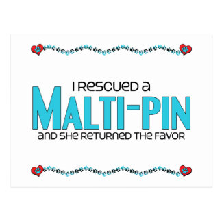 I Rescued a Malti-Pin (Female) Dog Adoption Design Post Cards