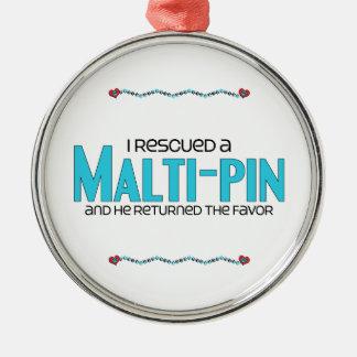 I Rescued a Malti-Pin (Male) Dog Adoption Design Round Metal Christmas Ornament