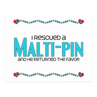 I Rescued a Malti-Pin (Male) Dog Adoption Design Post Cards