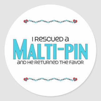 I Rescued a Malti-Pin (Male) Dog Adoption Design Sticker