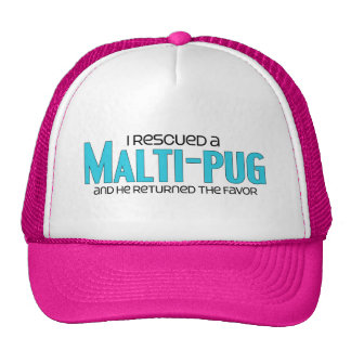 I Rescued a Malti-Pug Male Dog Adoption Design Mesh Hats