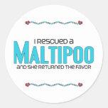 I Rescued a Maltipoo (Female) Dog Adoption Design Classic Round Sticker