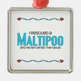 I Rescued a Maltipoo (Male) Dog Adoption Design Metal Ornament