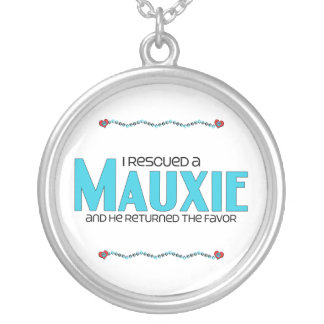 I Rescued a Mauxie (Male) Dog Adoption Design Round Pendant Necklace