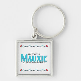 I Rescued a Mauxie (Male) Dog Adoption Design Silver-Colored Square Keychain