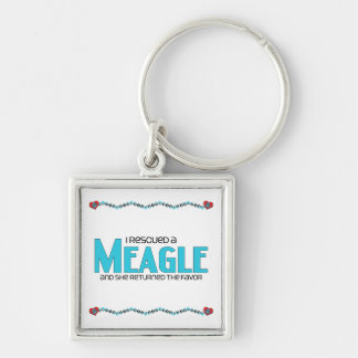 I Rescued a Meagle (Female) Dog Adoption Design Keychain