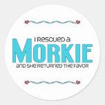 I Rescued a Morkie (Female) Dog Adoption Design Round Stickers