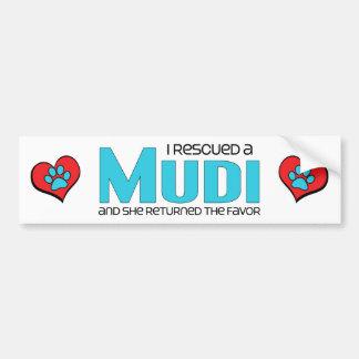 I Rescued a Mudi (Female Dog) Car Bumper Sticker