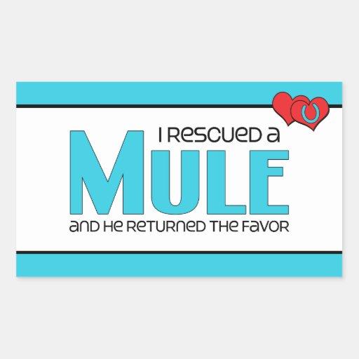 I Rescued a Mule (Male Mule) Rectangular Sticker