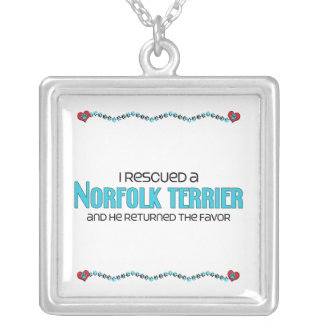 I Rescued a Norfolk Terrier (Male Dog) Square Pendant Necklace