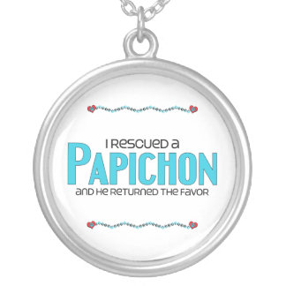 I Rescued a Papichon (Male) Dog Adoption Design Round Pendant Necklace