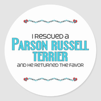 I Rescued a Parson Russell Terrier (Male Dog) Classic Round Sticker