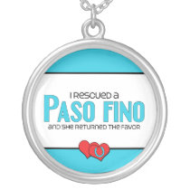 I Rescued a Paso Fino (Female Horse) Silver Plated Necklace