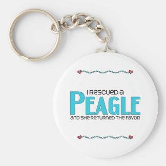 I Rescued a Peagle (Female) Dog Adoption Design Basic Round Button Keychain