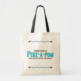 I Rescued a Peke-A-Pom (Male) Dog Adoption Design Budget Tote Bag