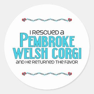 I Rescued a Pembroke Welsh Corgi (Male Dog) Round Sticker