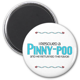 I Rescued a Pinny-Poo (Male) Dog Adoption Design 2 Inch Round Magnet