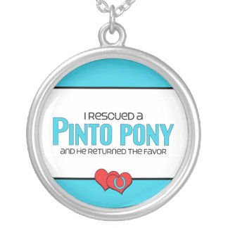 I Rescued a Pinto Pony (Male Pony) Round Pendant Necklace