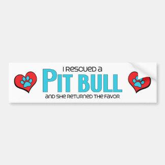 I Rescued a Pit Bull (Female Dog) Bumper Sticker