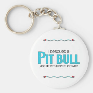 I Rescued a Pit Bull (Male Dog) Key Chains