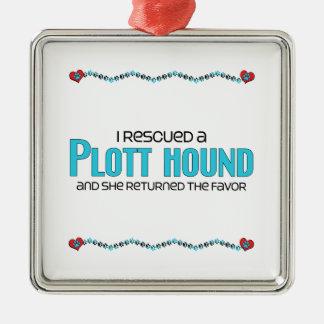 I Rescued a Plott Hound (Female Dog) Square Metal Christmas Ornament
