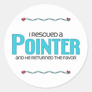 I Rescued a Pointer (Male Dog) Round Sticker