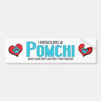 I Rescued a Pomchi (Female) Dog Adoption Design Car Bumper Sticker