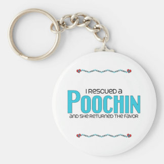I Rescued a Poochin (Female) Dog Adoption Design Basic Round Button Keychain