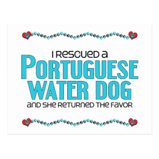 I Rescued a Portuguese Water Dog (Female Dog) Postcard