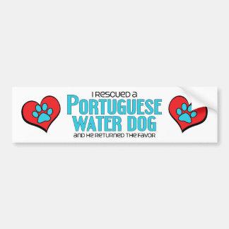 I Rescued a Portuguese Water Dog (Male Dog) Car Bumper Sticker