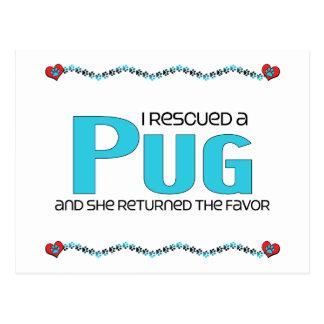 I Rescued a Pug (Female Dog) Postcard