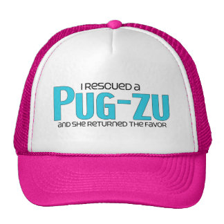 I Rescued a Pug-Zu Female Dog Adoption Design Mesh Hats