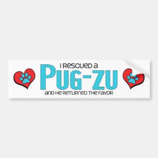 I Rescued a Pug-Zu (Male) Dog Adoption Design Bumper Sticker