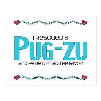 I Rescued a Pug-Zu (Male) Dog Adoption Design Postcard