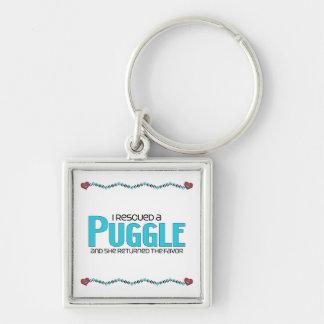 I Rescued a Puggle (Female) Dog Adoption Design Keychain