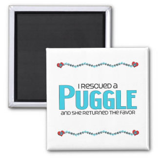 I Rescued a Puggle (Female) Dog Adoption Design 2 Inch Square Magnet