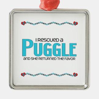 I Rescued a Puggle (Female) Dog Adoption Design Metal Ornament