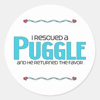 I Rescued a Puggle (Male) Dog Adoption Design Classic Round Sticker