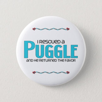 I Rescued a Puggle (Male) Dog Adoption Design Pinback Button