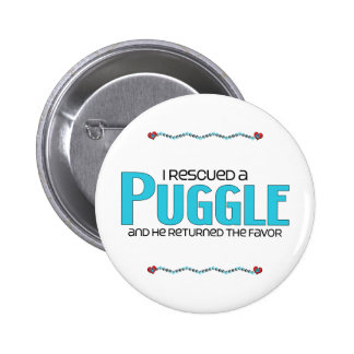 I Rescued a Puggle (Male) Dog Adoption Design Pinback Button